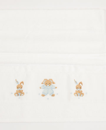 blue rabbit face towel